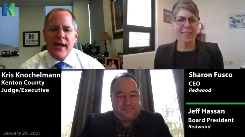 Kris Knochelmann, Sharon Fusco, and Jeff Hassan during a video call.