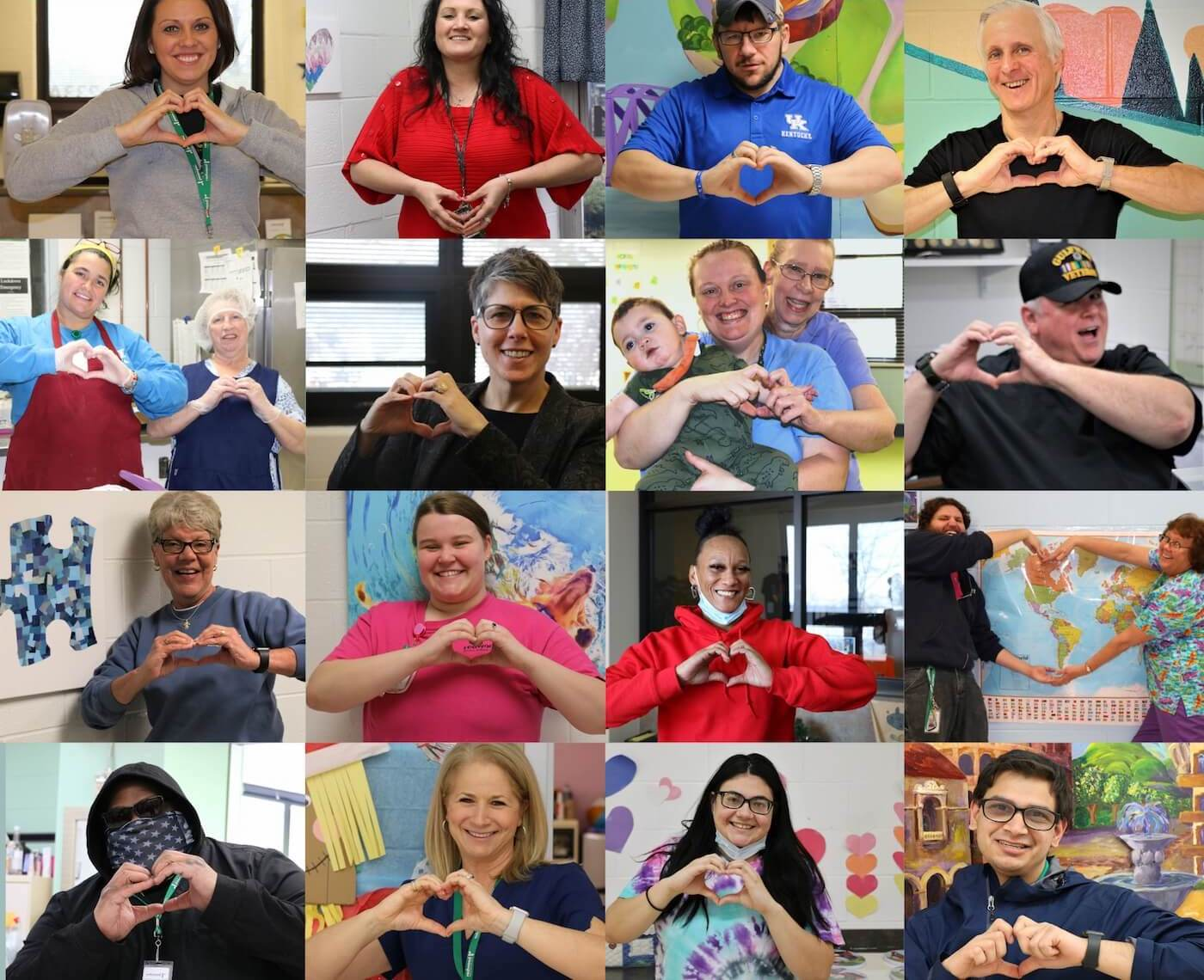 Collage of Redwood staff forming hearts with their hands.